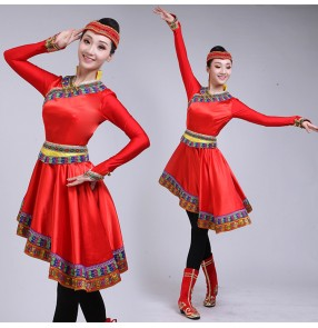 Women's Mongolian dance costumes traditional minority Chinese folk dance stage performance robes dresses with head piece