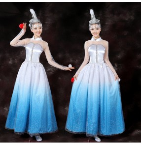 Women's mongolian dance dresses blue white gradient modern dance stage performance carnival celebration cosplay long dresses robes
