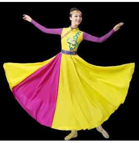Women's Mongolian dance dresses chinese mongolia minority ethnic photos shooting stage performance dresses for female