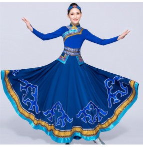 Women's National Mongolian dance dresses red blue white color chinese folk dance costumes traditional drama photos cosplay robe costumes