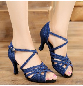 Women's navy silver competition ballroom latin dance shoes salsa chacha stage performance dance shoes