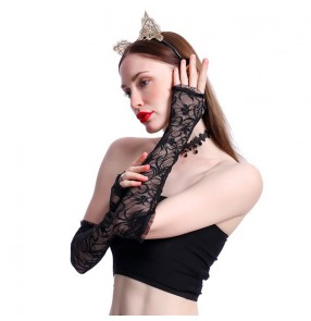 Women's night club party singers jazz performance lace sexy long sleeves gloves photos vedio shooting mittens for female