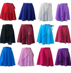 Women's one piece ballet dance skirt modern dance practice gyms fitness exercises wrap chiffon skirt