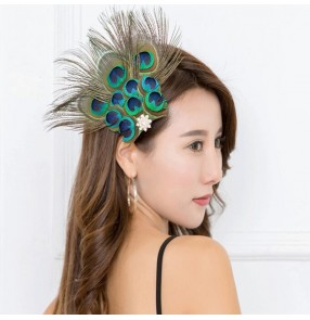 Women's peacock feather hair clip headdresses stage performance party cosplay hair accessories