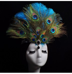 Women's peacock feather headdresses girls model show photos cosplay headdress stage performance hair accessories hair clip
