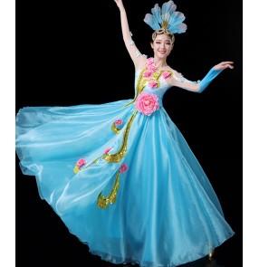 Women's pink blue yellow green colored opening dance flower fairy dresses ballroom dresses stage performance chorus modern dance dresses