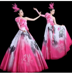 Women's pink flowers opening dance dress flamenco dresses modern dance dresses chorus singers stage performance dresses