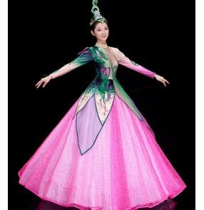Women's pink petals opening dance dresse modern dance dresses dancers performance dresses ballroom dancing dresses costumes