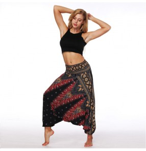 women's printed yoga sports gymas hippie belly dance loose baggy pants hiphop street dance stage performance wide leg workout trousers