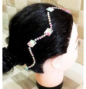 Women's professional ballroom dance rhinestones headdress hair accessories