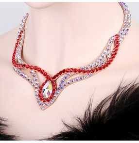 Women's  professional competition diamond rhinestones crystal ballroom latin dance necklace