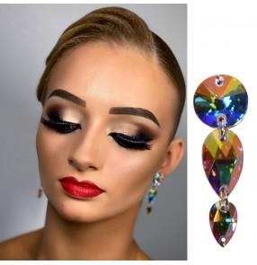 Women's professional competition handmade ballroom latin dance rhinestones earrings stud earrings one pair