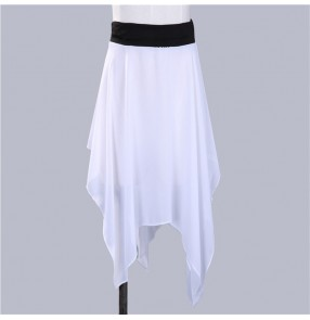 Women's purple black white red  ballet skirt modern dance fitness gymnastics stage performance wrap skirts