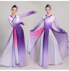 Women's purple gradient colored chinese folk dance dresses fairy dress ancient chinese dress traditional yangko fan umbrella dance dresses