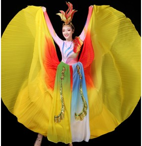 Women's rainbow colored flamenco dresses opening dance chorus dresses classical dance dresses stage performance ballroom dance dresses