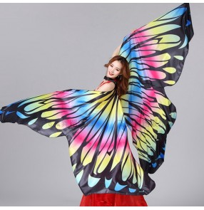 Women's rainbow Egypt queen belly dance butterfly wings performance belly dance props for female