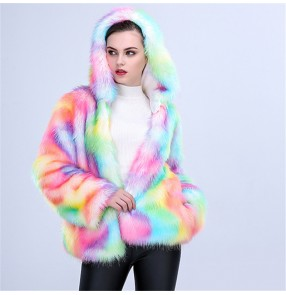 Women's rainbow faux fur coat stage performance singers night club performing hoodies faux fur coat for female