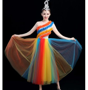 Women's rainbow modern dance singer jazz dance dress choir dresses opening dance chorus stage performance dresses