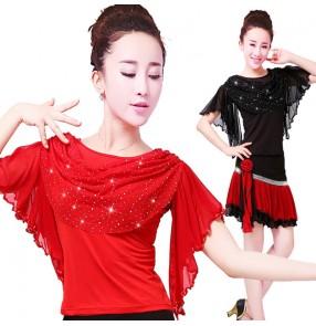 Women's red black sequins ballroom latin dance tops female ruffle neck stage performance salsa chacha dance tops shirts