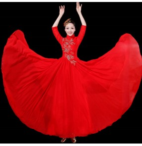 Women's red chinese dresses stage performance opening dance singers performance dresses classical dance chorus dresses