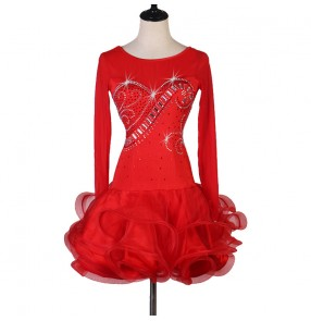 Women's red clored stones latin dance dresses ruffles skirts salsa rumba chacha dance dress costumes