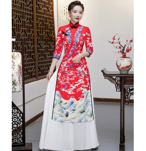Women's red colored chinese dresses oriental traditional dress model show miss etiquette stage performance cheongsam dress