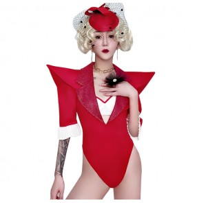 Women's red colored singers jazz dance bodysuits gogo dancers stage performance night dj ds dance outfits costumes jumpsuits
