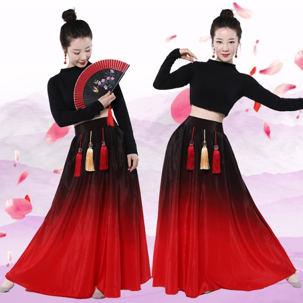 07e99c22b827 Women s red gradient Chinese classical dance dresses Chinese ...