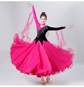 Women's red hot pink with black ballroom dancing dresses competition waltz tango dance dresses