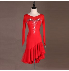 Women's red latin dresses female modern dance stage performance ballroom salsa rumba samba chacha dance dresses skirts