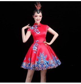 Women's red with blue chinese folk dance dress yangko fan umbrella dance costumes classical dance chinese qipao dresses