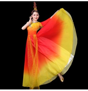 Women's red with gold chinese traditional singers chrous dance dress fairy dresses classical dance dresses opening dance dresses