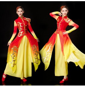 Women's red with gold gradient colored chinese folk dance dress female ancient traditional drummer classical dance dresses