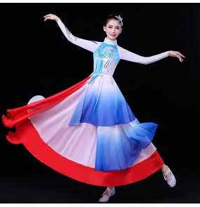 Women's red with royal blue chinese hanfu classical tradtional dance dress fairy princess anime drma cosplay dress