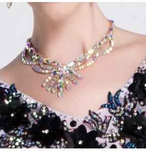 Women's rhinestones ballroom latin competition dance necklace stage performance diamond choker