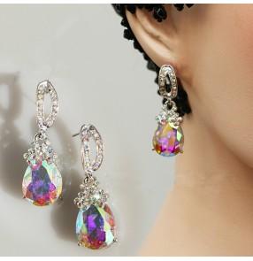 Women's rhinestones ballroom waltz tango dance earrings eardrop one pair