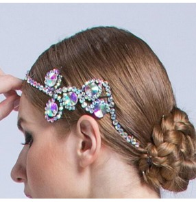 Women's rhinestones ballroom waltz tango dance headdress hair accessories