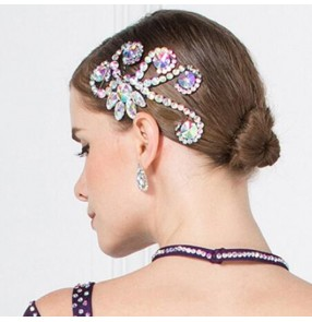 Women's rhinestones bling ballroom latin dance headdress professional hair accessories headdress