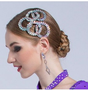 Women's rhinestones bling competition ballroom waltz latin dance headdress hair accessories