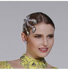 Women's rhinestones competition ballroom latin dance bling headdress hair accessories