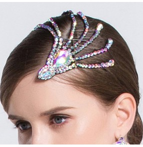 Women's rhinestones competition ballroom latin dancing headdress hair accessories