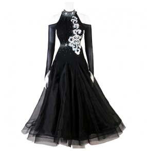 Women's  rhinestones competition black red  ballroom dancing dresses waltz tango dance dress
