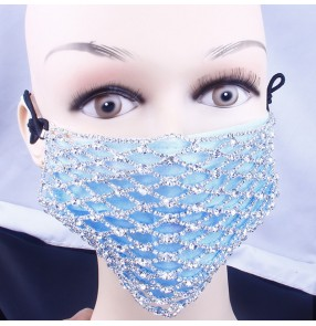 Women's rhinestones face masks masquerade bling hollow fashion mask for party
