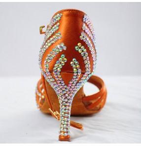 Women's rhinestones handmade competition ballroom latin dance shoes 8.5cm heel height