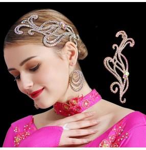 Women's rhinestones headdress for ballroom latin competition dance salsa chacha dance hair accessories