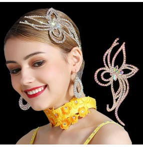 Women's rhinestones headdress hair accessories for competition latin ballroom salsa chacha dance