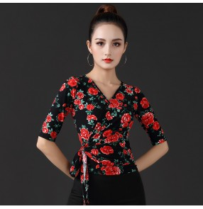 Women's rose flowers ballroom latin dance tops exersises practice stage performance salsa chacha dance tops for female