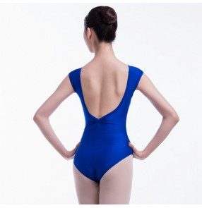 Women's royal blue ballet dance bodysuits fitness exercises yoga practice dance training leotards for female
