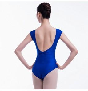 Women's royal blue ballet dance bodysuits fitness exercises yoga practice dance training leotards for female