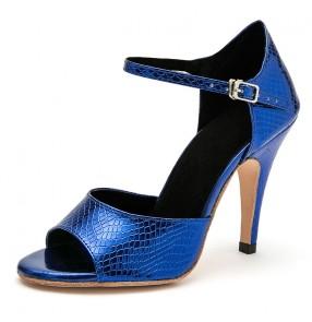 Women's royal blue ballroom tango dance shoes feamle gold red waltz latin dance shoes sandals 8.5cm heel